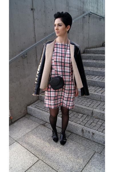 tan leather Zara jacket - black Bershka boots - white plaid Choies dress