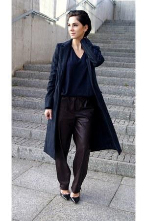 navy pinstripe Zara coat - navy cardigan Zara sweater