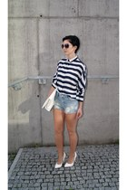 navy striped OASAP shirt - white Choies bag - light blue denim OASAP shorts