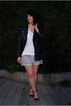 periwinkle H&M shorts - black leather jacket H&M Trend jacket