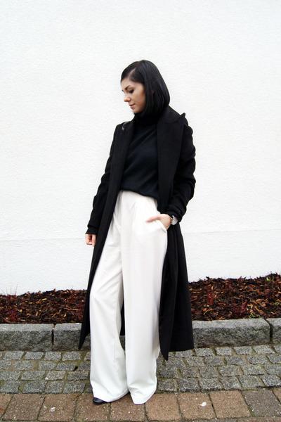 black Sheinside coat - black FEW MODA sweater - black WalG scarf