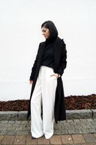 black Sheinside coat - black FEW MODA sweater - black WalG scarf