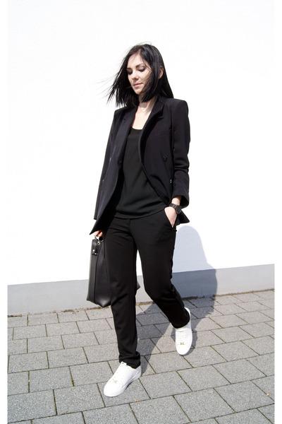black Front Row Shop blazer - white Michael Kors shoes - black Mango top