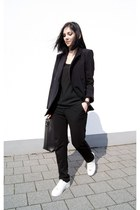 black Front Row Shop blazer - white Michael Kors shoes - black Mango top