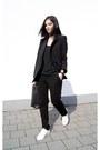 White-michael-kors-shoes-black-front-row-shop-blazer-black-mango-top