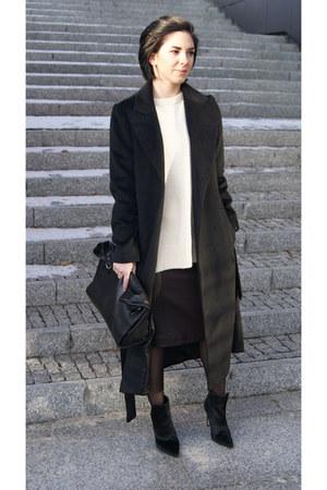 black pony hair Zara shoes - black Sheinside coat - beige Front Row Shop sweater