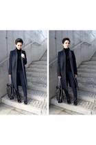 navy pin stripe Zara coat - black patent leather Bershka boots
