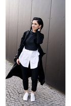 black suede style moi coat - white Zara shoes