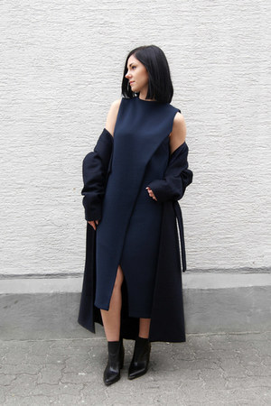 black charles&keith boots - navy Silvae dress - navy Silvae coat
