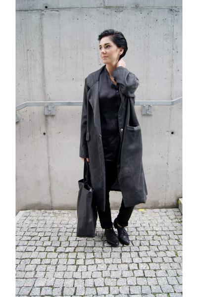 black lace up oxfords Choies shoes - dark gray Choies coat