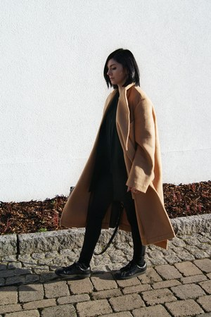 black Mango shoes - camel Front Row Shop coat - black The Design Republik top