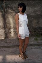 off white leather Zara shorts - ivory leather Zara top