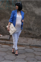 blue Bershka jacket - white Zara bag - white H&M top - white Bershka pants