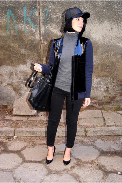black Zara shoes - black leather allegro hat - navy leather H&M Trend jacket