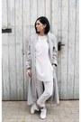 White-zara-shoes-silver-sheinside-coat-white-mango-pants-white-hyphen-top