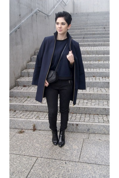 black Zara boots - navy Zara coat - black Mango bag - black Zara pants