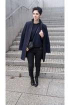 black Zara boots - navy Zara coat - black Mango bag - black Zara pants