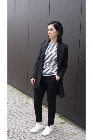 black Sheinside jacket - white Zara shoes - white stripes Front Row Shop blouse