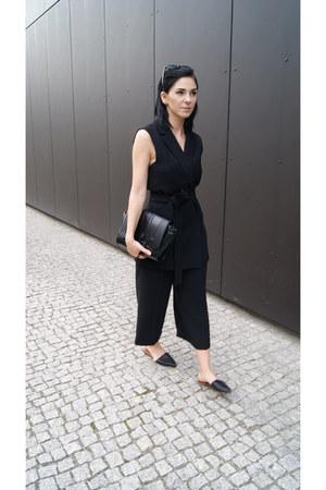 black Zara shoes - black Zara bag - black Zara suit