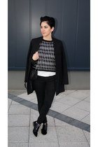 black checked PERSUNMALL sweater - black suede Bershka shoes - black H&M jacket