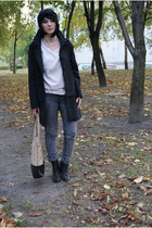 black Zara coat - black H&M shoes - tan Cubus bag - off white H&M cardigan