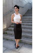 white crop top Choies top - black Cubus sunglasses - black Zara heels