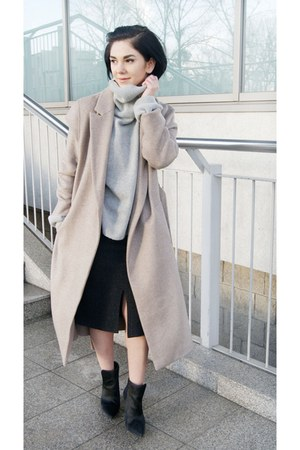 silver turtleneck OASAP sweater - black pony hair Zara shoes - tan Zara coat