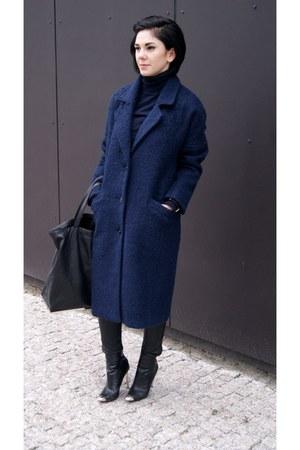 black Zara shoes - navy reserved coat - navy turtleneck Zara sweater