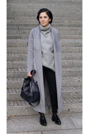 silver Sheinside coat - black crocodileskin Zara shoes
