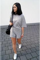 silver Arthur shorts - white Zara shoes - silver Arthur t-shirt