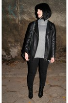 black leather H&M Trend jacket - heather gray Zara sweater