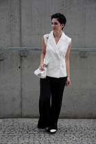 white Zara shoes - white Zara bag - black palazzo H&M pants
