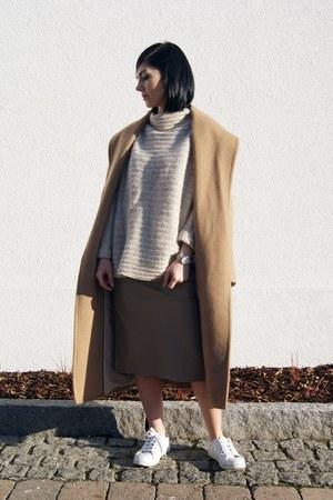 camel Mango coat - white Zara shoes - beige Art Dept sweater