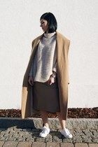 camel Mango coat - white Zara shoes - beige Art Dept sweater