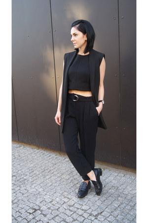 black Zara shoes - black crop top Mango top - black Mango pants