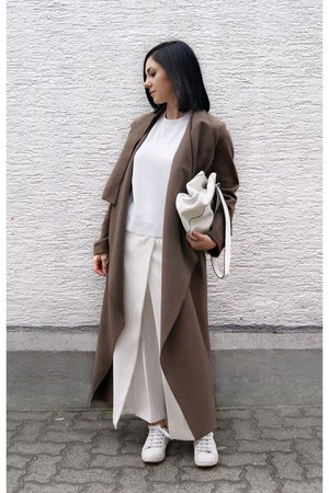 white Zara shoes - brown Sistu coat - white Zara bag - white Mango top