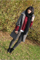silver reserved coat - black H&M shoes - crimson SH sweater