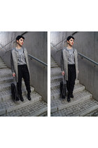 silver Choies sweater - black metallic Zara shoes - heather gray pull&bear coat