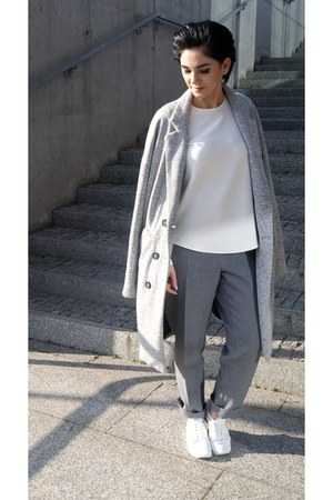white Zara shoes - silver New Yorker coat - white Front Row Shop top