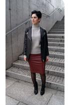 black H&M Trend jacket - black Zara boots - periwinkle OASAP sweater