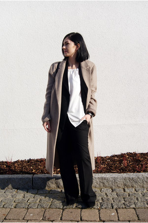 black Mango shoes - tan Zara coat - black rosemunde jacket - black Mango pants