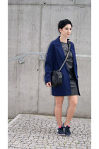 navy Front Row Shop blazer - navy nike shoes - black leather reserved dress