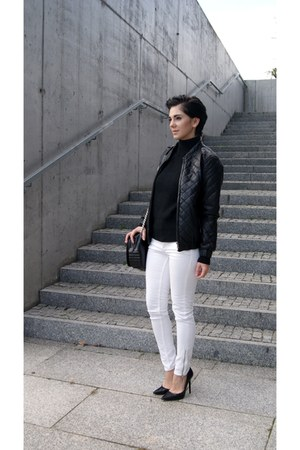 black quilted leather Choies jacket - white H&M jeans