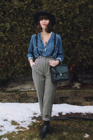 black booties leather TJ Maxx boots - blue chambray thrifted shirt