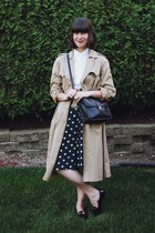 tan thrifted coat - off white Zara shirt - black cross body thrifted bag