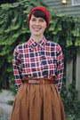 Ruby-red-plaid-bijou-vintage-bazaar-shirt-red-beanie-target-hat