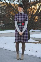 deep purple plaid Stranger Bird Vintage dress