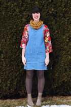 navy pinafore denim Bear and Twine dress - ruby red floral Honeymoon Muse shirt