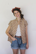 camel structured Vintage 1990s Waves Vest vest