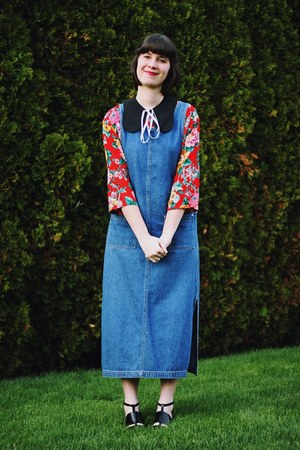 navy denim pinafore thrifted dress - ruby red floral Honey Moon Muse blouse